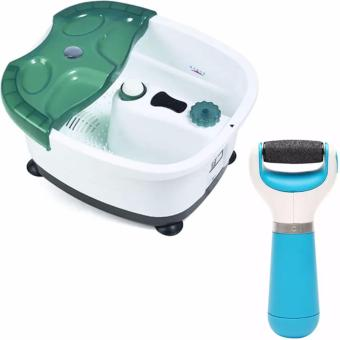 All-in-One Foot Spa Bath Massager (Green)With Professional ElectricPedicure Foot File Callous Remover