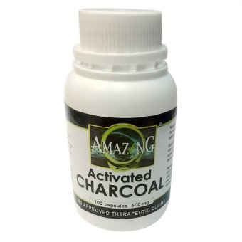Amazing Food Supplement Activated Charcoal 500mg Capsules Bottle of 100