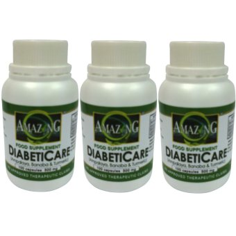Amazing Food Supplement DiabetiCare 500mg 100% Pure Leaf Powder500mg Capsule Bottle of 100 Set of 3
