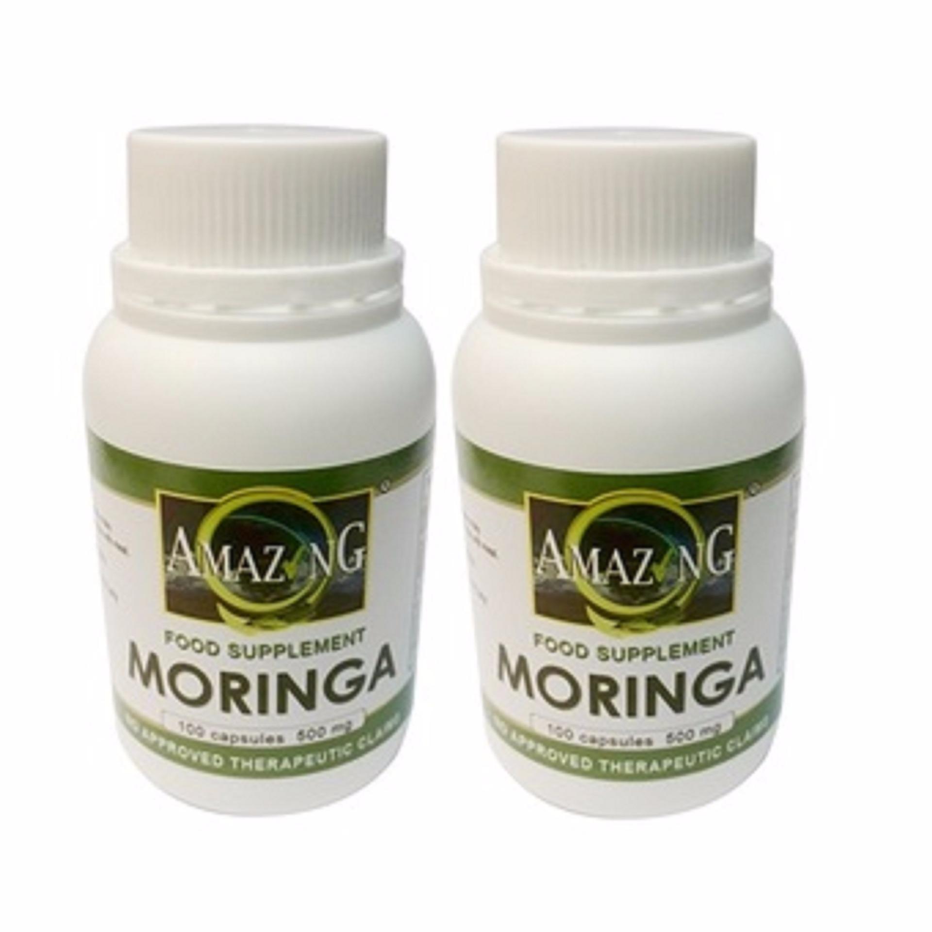 Amazing Food Supplement Moringa 500mg Capsules Bottle of 100 Setof2