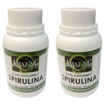 Amazing Food Supplement Spirulina 500mg 100% Capsules Bottle of 100 Set of 2