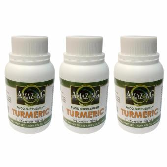 Amazing Food Supplement Turmeric 700mg Capsules Bottle of 100 Setof 3