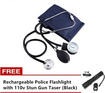 Aneroid Sphygmomanometer Blood Pressure Measure Device Kit CuffStethoscope with Free Rechargeable Police Flashlight with 110v StunGun Taser (Black)
