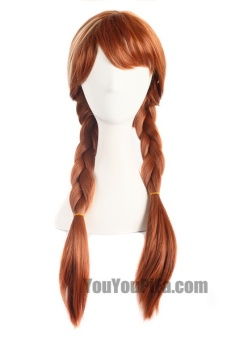 Anime Wigs Ice And Snow Anna With The Wigs Braids Brown Cosplay Wigs Hair Sets 61066 (Color: Light Brown) - intl - 3