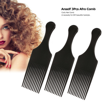 Anself 3Pcs Afro Comb Curly Hair Brush Comb Hairdressing StylingTool Black for Man & Woman - intl