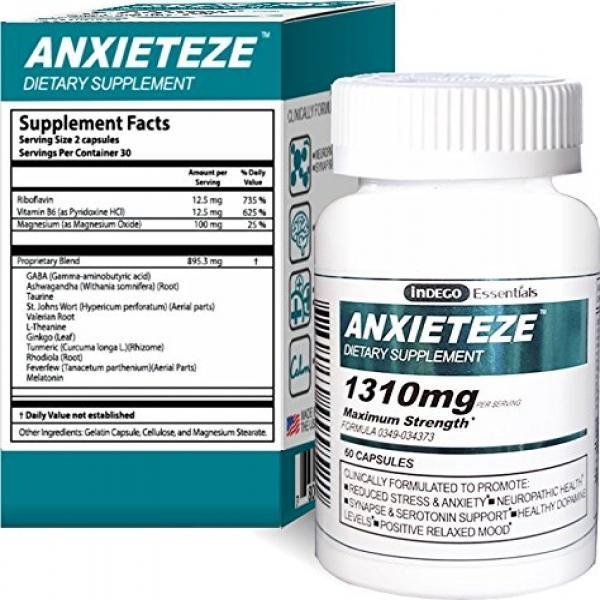 ANXIETEZEa,,? -Ease Stress & Anxiety- 60ct Capsules - MAXIMUM STRENGTH FORMULA (1-60ct Box) Promotes Calm & Recuperative Sleep at Night w/ Controlled Focus and Positive Mood Enhancement During the Day