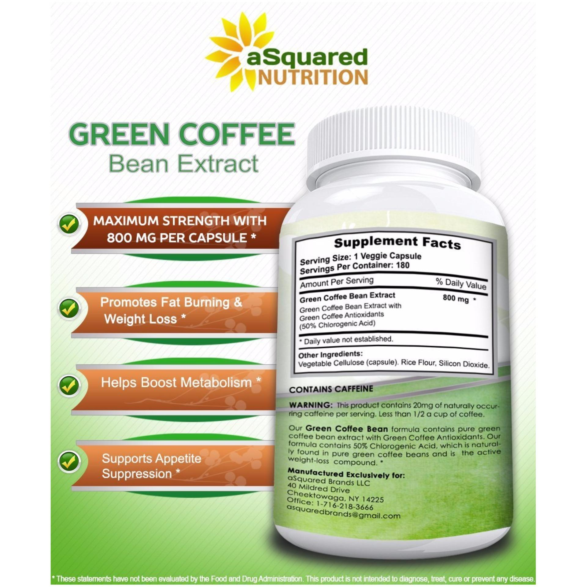 aSquared Nutrition 100% Pure Green Coffee Bean Extract, 180capsules, 90-day Supply