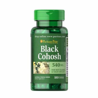 Authentic Puritan's Pride Black Cohosh 450mg for Menopausal Health,Pre-menstrual cramps relief, estrogen hormone balancer for hotflashes and night sweats bottle of 100 capsules