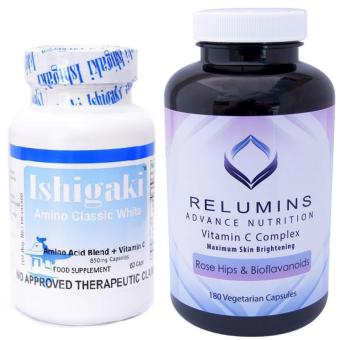 AUTHENTIC Relumins Max Bright Vitamin C-Rosehips 180 caps and NEWBFAD-FDA Approved Japan Ishigaki Classic L-Glutathione 1000mg SkinWhitening, Anti-aging NAC N-Acetyl cysteine, Alpha Lipoic acidformula 60 capsules SET Price Philippines