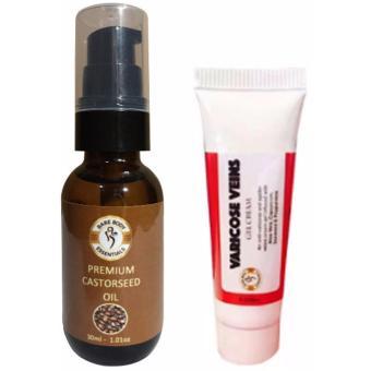 Bare Body Essentials SET of Premium CASTOR Seed Oil 30ml + VARICOSEVeins Gel Cream 10ml