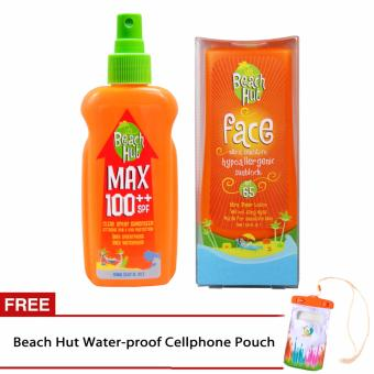 Beach Hut Max SPF100++ Sunblock Spray 150ml and Beach Hut Face SPF 65 75ml with FREE waterproof cellphone pouch
