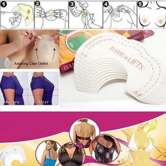 Beautiful-Life Women Bare Lifts Push Up Breast Bust Cleavage ShaperInvisible Tape 10 Pcs - 2