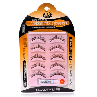 Beauty Life False Eyelashes with Eyelash Glue #B4 (Black)