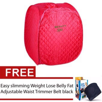 Beauty Spa Portable Steam Sauna with Free Easy slimming Weight LoseBelly Fat Adjustable Waist Trimmer Belt black