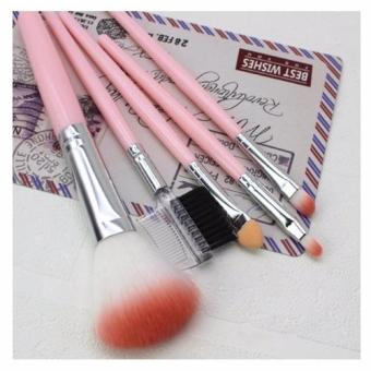 BIH 5pcs Makeup Brush Tools Make-up Wool Kit (Pink)