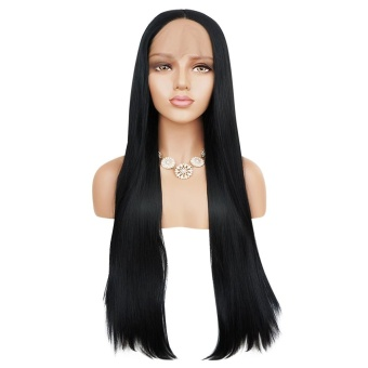 Black Women Full Lace Front Natural Straight Black Wigs Synthetic Hair - intl