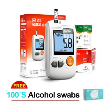 Blood Glucose Monitoring With100 Test Strips and 100 Needles Lancets with Free 100 Alcohol Swabs - intl