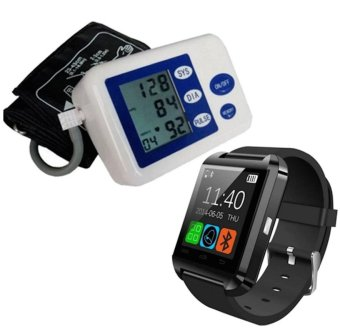 Blood Pressure Heartbeat Monitor (Blue/White) and with C-001 Smart Watch (Black)