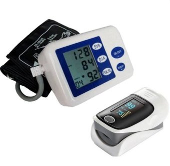 Blood Pressure Heartbeat Monitor (Blue/White) and with UniversalFingertip Pulse Oximeter (Black/White)
