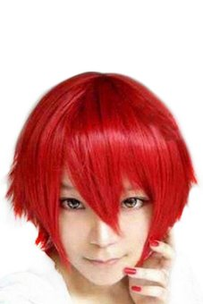 Bluelans Short Cosplay Party Straight Wig (Red)