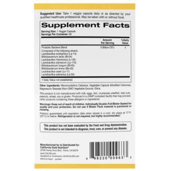 CALIFORNIA GOLD NUTRITION LactoBif Probiotics, 5 Billion CFU, 60 Veggie Caps - 2