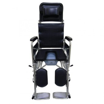 Care&Cure Heavy Duty Chrome Reclining Wheelchair with Commodeattachment (Silver) - 3