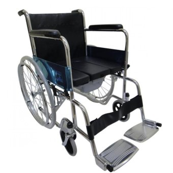 Care&Cure Heavy Duty Chrome Wheelchair with Commode attachment (Silver) Price Philippines