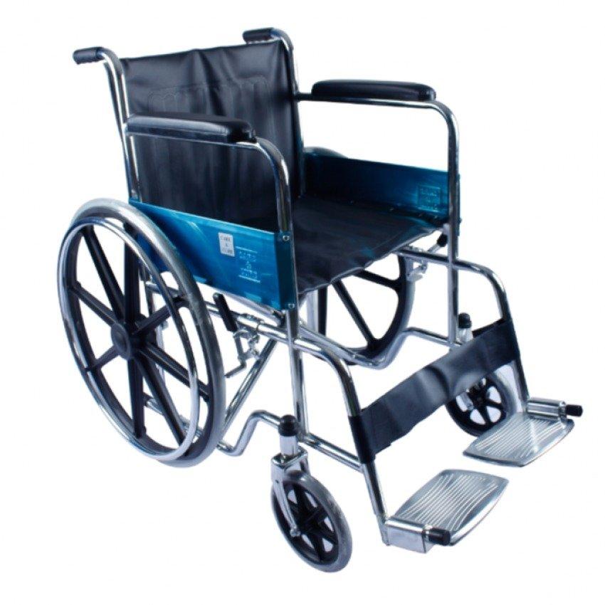 Care&Cure Heavy Duty Steel Wheelchair with Sporty Fiberglass Mag Wheels (Black)