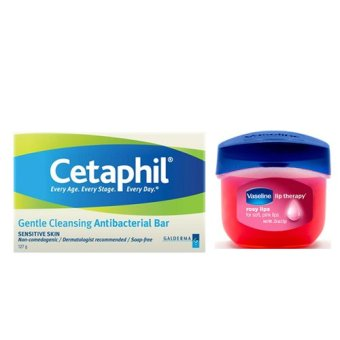 Cetaphil Gentle Cleansing Antibacterial Bar + Vaseline Lip Theraphy