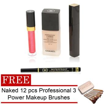Chanel 4 Piece Set of Make Up Lipgloss, Mascara, Flawless Fluid andEyeliner with FREE Naked 12 pcs Professional 3 Power Makeup Brushes