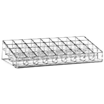 Clear Acrylic Makeup Organizer Cosmetic Storage Box for Lip Gloss Lipstick Nail Polish Holder with 36 Storage Compartments - intl