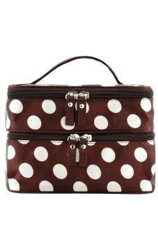 Cocotina Travel Makeup Cosmetic Bag Dots Organizer Pink and Brown