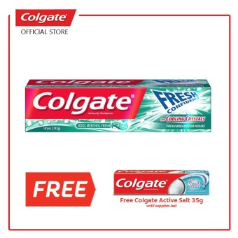 Colgate FRESH CONFIDENCE with COOLING CRYSTALS (CFCCC) Kool Menthol Fresh (Green) with FREE Salt 35g
