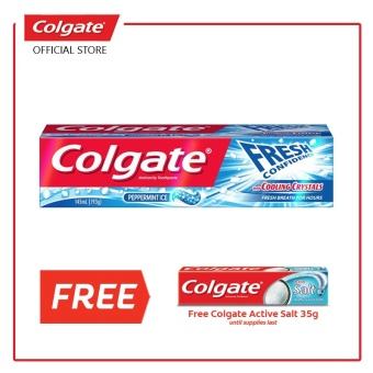 Colgate FRESH CONFIDENCE with COOLING CRYSTALS (CFCCC) Peppermint Ice (Blue) with FREE Salt 35g