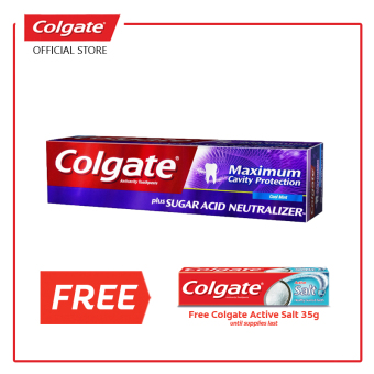 Colgate MAXIMUM CAVITY PROTECTION plus Sugar Acid Neutralizer (Metallic Purple) with FREE Salt 35g