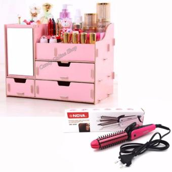 Creative DIY Wooden Decorative Dresser Cosmetic Jewellery Make UpStorage Box (COLOR MAY VARY) with NHC-8890 3in1 NOVA ProfessionalElectric Hair Curler Roller Straightener(Pink)