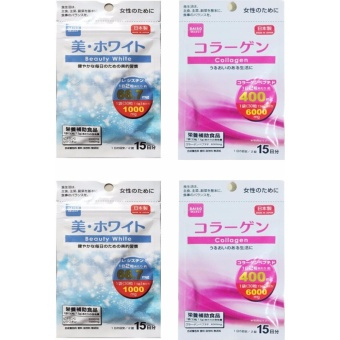 Daiso COLLAGEN (30 tablets) + BEAUTY WHITE (30 tablets) SET of 2with FREE 1 Sachet Baian Lishou Slimming Coffee