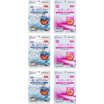 Daiso COLLAGEN (30 tablets) + BEAUTY WHITE (30 tablets) SET of 3with Free 1 sachet Skin Magical Fit Juice 11g