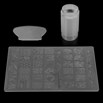 DIY Nail Art Stamping Stamper Kit With Image Plate & Scraper Manicure Tool Set-White