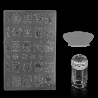 DIY Nail Art Stamping Stamper Kit With Image Plate & ScraperManicure Tool Set-Transparent - 2
