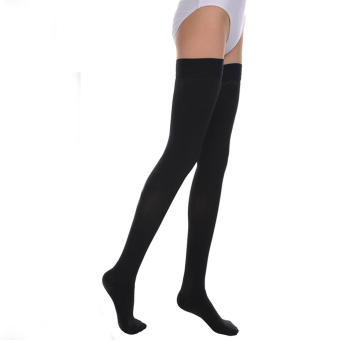 Elastic Nylon Closed Toe Stockings For Varicose Veins Care L Black