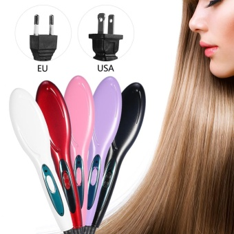Electric Hair Straightener Hair Brush Comb HairdressingStraightening Tool (Purple US Plug) - intl