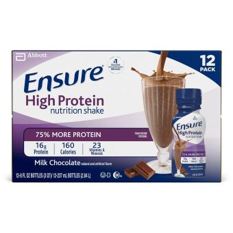 Ensure High Protein Nutrition Shake- Low Fat- Milk Chocolate- 8 Ounces- 12 Count