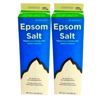 Epsom Salt Magnesium Sulfate USP Saline Laxative 2 lbs Set of 2with FREE Flawless Papaya Soap