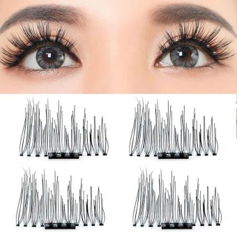 False Dense Eyelashes 2 Pair 3D Magnetic Eye Lash Extension Makeup Reusable Tool - intl