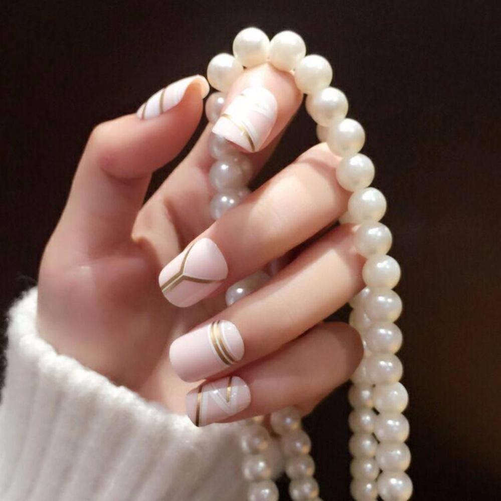 Philippines   Fashion Milk Fake Nails Cool Golden Stripe Style 24pcs ...
