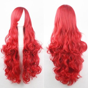 Fashion Wig 80cm Long Wig Hair Curled High Temperature Silk Multicolor Curl - Red - intl - 2