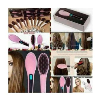 Fast Hair Straightener Brush - Pink