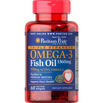 For Healthy Heart, Omega-3 Fish Oil 1360mg 60 softgels Triple Strength, Puritan's Pride