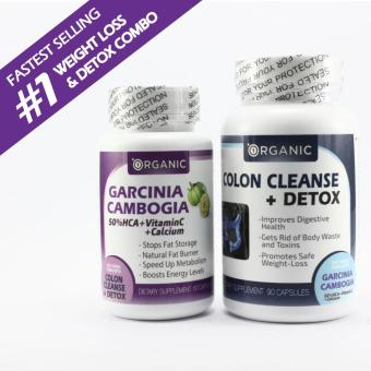 Garcinia + Vit C + Calcium & Colon Cleanse + Detox Weight LossCombo, All Natural Fat Burner - 50% HCA, Clinically Proven